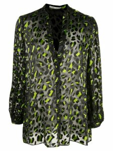 Alice+Olivia leopard print sheer blouse - Black