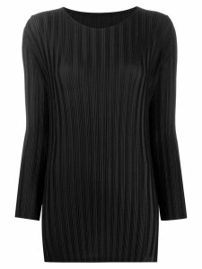 Pleats Please Issey Miyake plissé satin top - Black