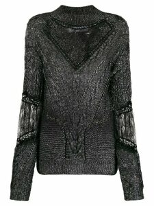 Almaz lace detailed cable knit jumper - Black