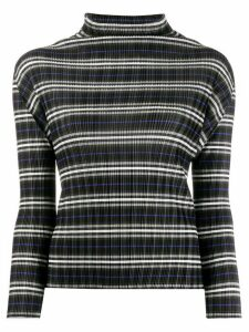 Pleats Please Issey Miyake micro-pleated striped top - Black