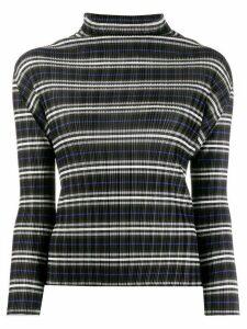 Pleats Please Issey Miyake micro-pleated striped top - Black