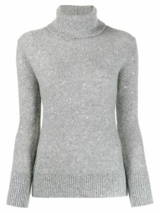 Fabiana Filippi embellished turtle-neck sweater - Grey