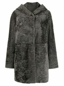 Drome hooded shearling coat - Grey
