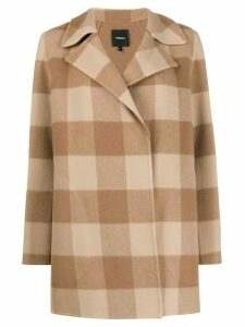 Theory double-faced check coat - Brown