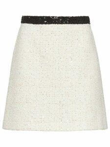 Miu Miu sequinned tweed skirt - White