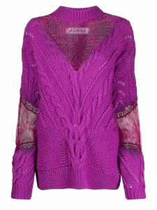 Almaz floral lace detail jumper - PURPLE