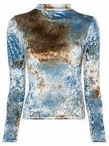 Collina Strada tie dye crushed-velvet top - Blue