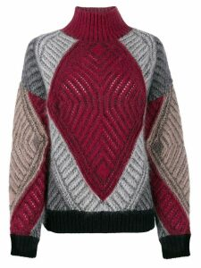 Alberta Ferretti oversized colour-block jumper - Red