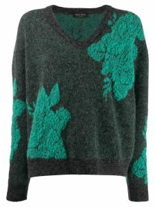 Roberto Collina v-neck floral knit jumper - Green