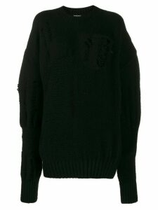 Ann Demeulemeester distressed effect jumper - Black
