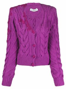 Almaz velvet detail cardigan - PURPLE