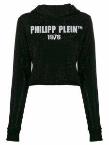 Philipp Plein logo printed cropped hoodie - Black
