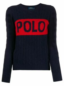Polo Ralph Lauren logo print cable knit jumper - Blue