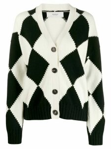 Pringle of Scotland graphic argyle cropped cardigan - White