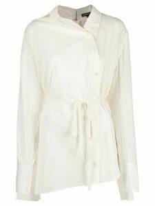 Ann Demeulemeester belted waist shirt - White