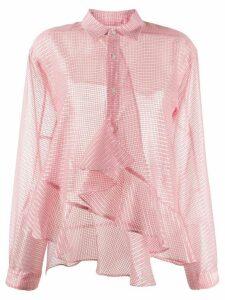 Julien David checkered ruffle trim shirt