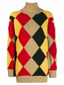 Pringle of Scotland graphic argyle roll-neck jumper - Yellow
