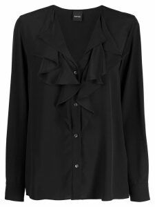 Aspesi ruffled silk shirt - Black