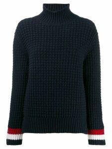 Thom Browne waffle stitch crewneck jumper - Blue