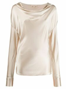Gold Hawk draped long sleeved top - NEUTRALS