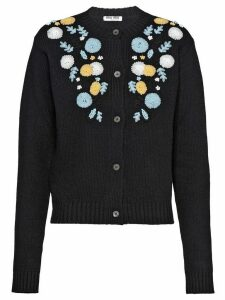 Miu Miu floral embroidered cardigan - Black