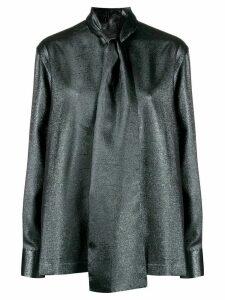 Dolce & Gabbana pussybow metallic blouse - Blue