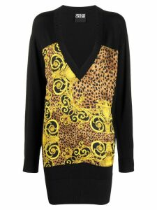 Versace Jeans Couture oversized V-neck sweater - Black