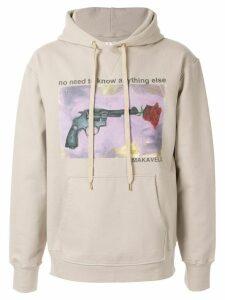 Makavelic Rose Gun print hoodie - NEUTRALS