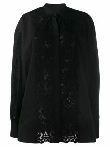 Giambattista Valli relaxed-fit lace panel shirt - Black