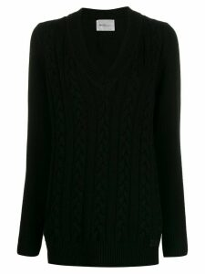 be blumarine V-neck cable knit sweater - Black