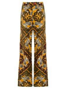 F.R.S For Restless Sleepers tiger-print flared trousers - Yellow
