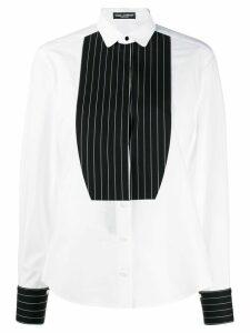 Dolce & Gabbana contrasting plastron tuxedo shirt - White
