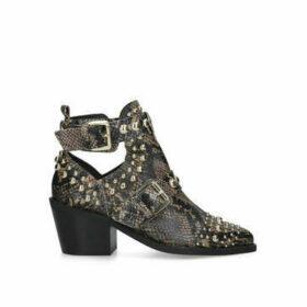 Kurt Geiger London Sybil - Snake Print Studded Block Heel Ankle Boots