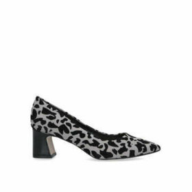 Nine West Jac - Grey Leopard Print Block Heel Court Shoes