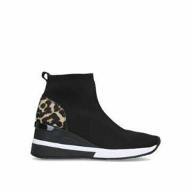 Michael Michael Kors Skyler Bootie - Black And Leopard Print Wedge Heel Sock Trainers