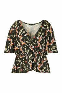Womens Plus Oriental Floral Print Wrap Peplum Top - Black - 28, Black
