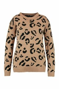 Womens Plus Leopard Knitted Jumper - beige - 22, Beige