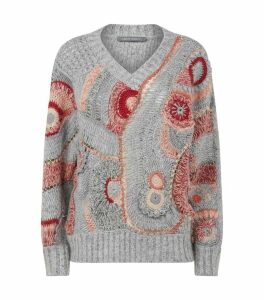 Swirl Print Mohair-Blend Sweater