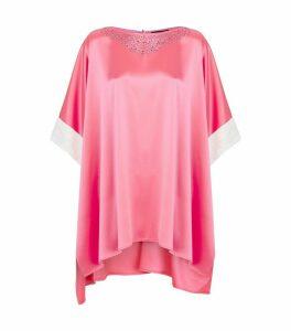 Sequin-Embellished Knit Trim Satin Top