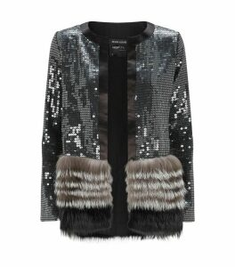 Sequin Fox Fur Cardigan