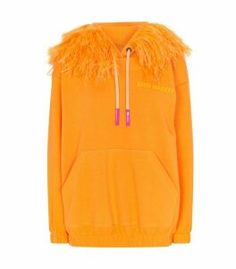 Feather Trim Hoodie