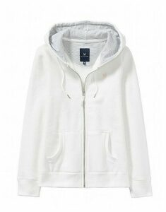Zip Through Hoody in White Linen