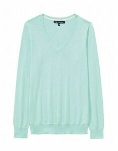 Foxy V Neck Jumper in Glass Blue