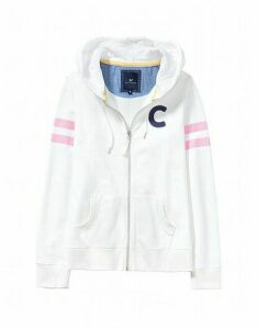 Varsity Zip Through Sweatshirt In White