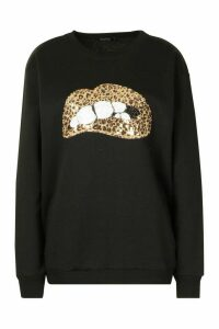 Womens Sequin Lip Sweatshirt - black - S, Black