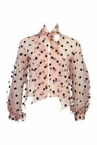 Womens Polka Dot Oversized Organza Blouse - pink - 16, Pink