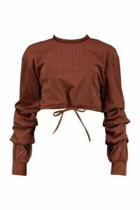 Womens Cord Twist Back Drawstring Sweat Top - brown - 14, Brown