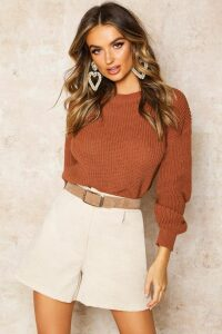 Womens Crop Fisherman Jumper - beige - L, Beige