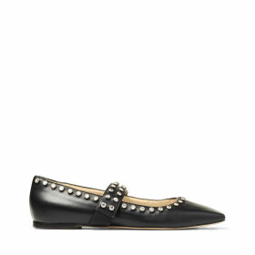 MINETTE FLAT Black Nappa Leather Ballet Flats with Crystal Embellishment