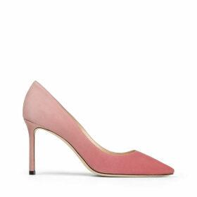ROMY 85 Bubblegum and Blush Pink Dégradé Suede Pointed Pumps